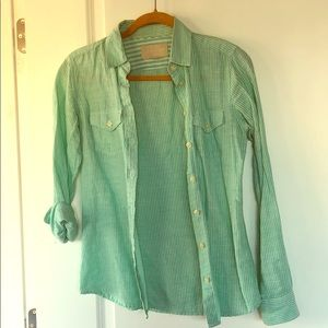 Green striped button up shirt from Banana Republic